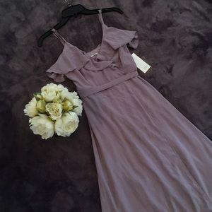 Tobi Dusty Purple Wrap Maxi Dress with Ruffles